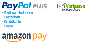 Bezahlarten: Paypal Plus, Amazon Payments, Vorkasse